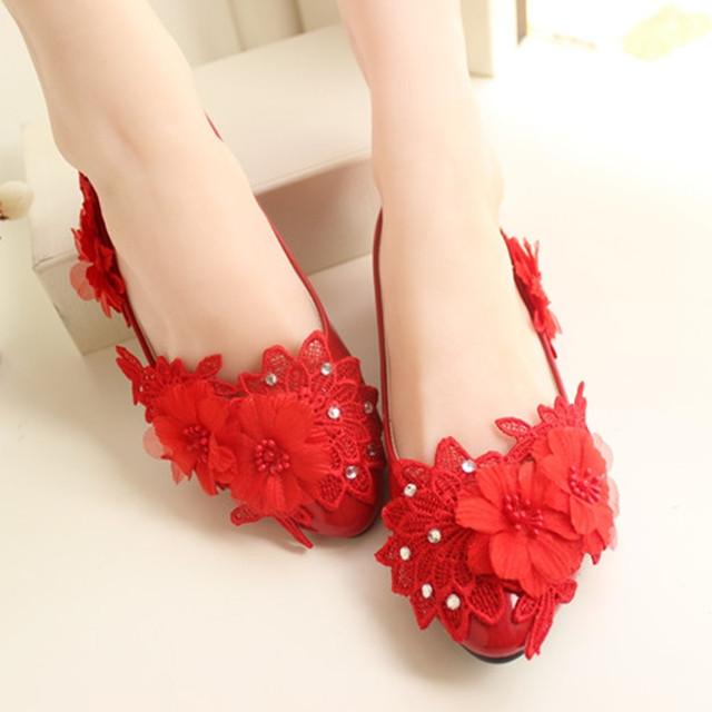 dc305f256 High Quality White/red Lace Pearls Women Wedding Shoes With Ribbons Lace Up  Ladies Party/dress Shoes Pointed Toes Size Eu34-40