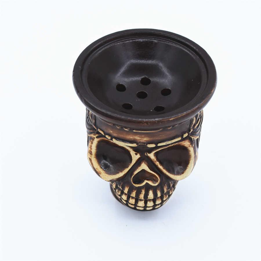 Narguilé cabeça da cachimba de cerâmica, shisha, suporte de tigela, caveira, tabaco, chicha, narguia