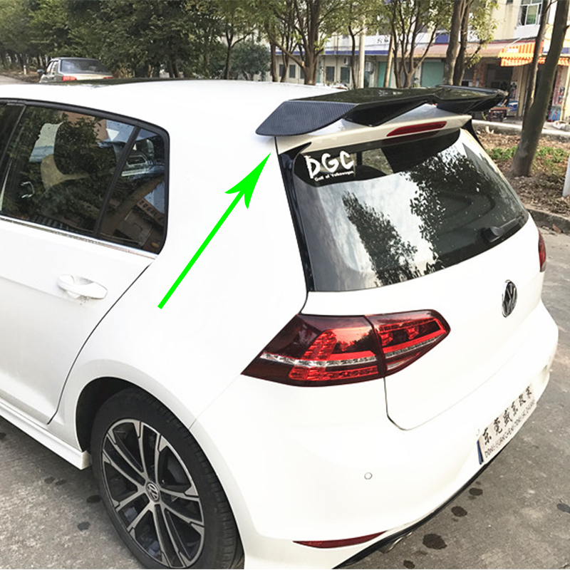 Golf 7 GTI Modified REVOZPORT Style Carbon Fiber Rear Roof Lip Spoiler Car Wing for Volkswagen Golf 7 GTI R 2014-2017 hot car abs chrome carbon fiber rear door wing tail spoiler frame plate trim for honda civic 10th sedan 2016 2017 2018 1pcs