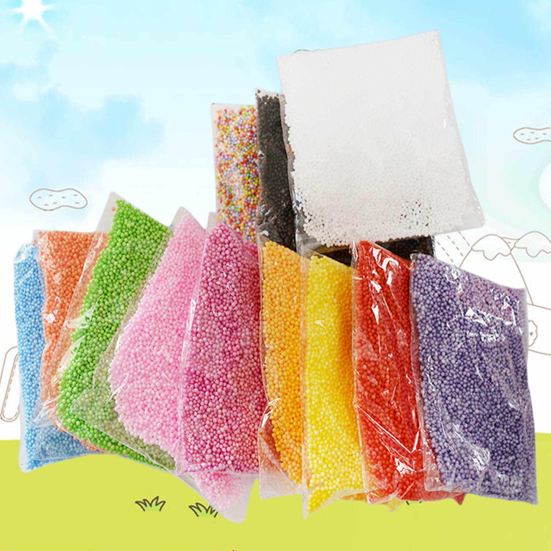 12 Paket Fashion Dekoratif Berbagai Macam Warna Mikro Polystyrene Styrofoam Lendir Busa Bola Manik-manik Set Mainan Slime Membuat Kerajinan Tangan