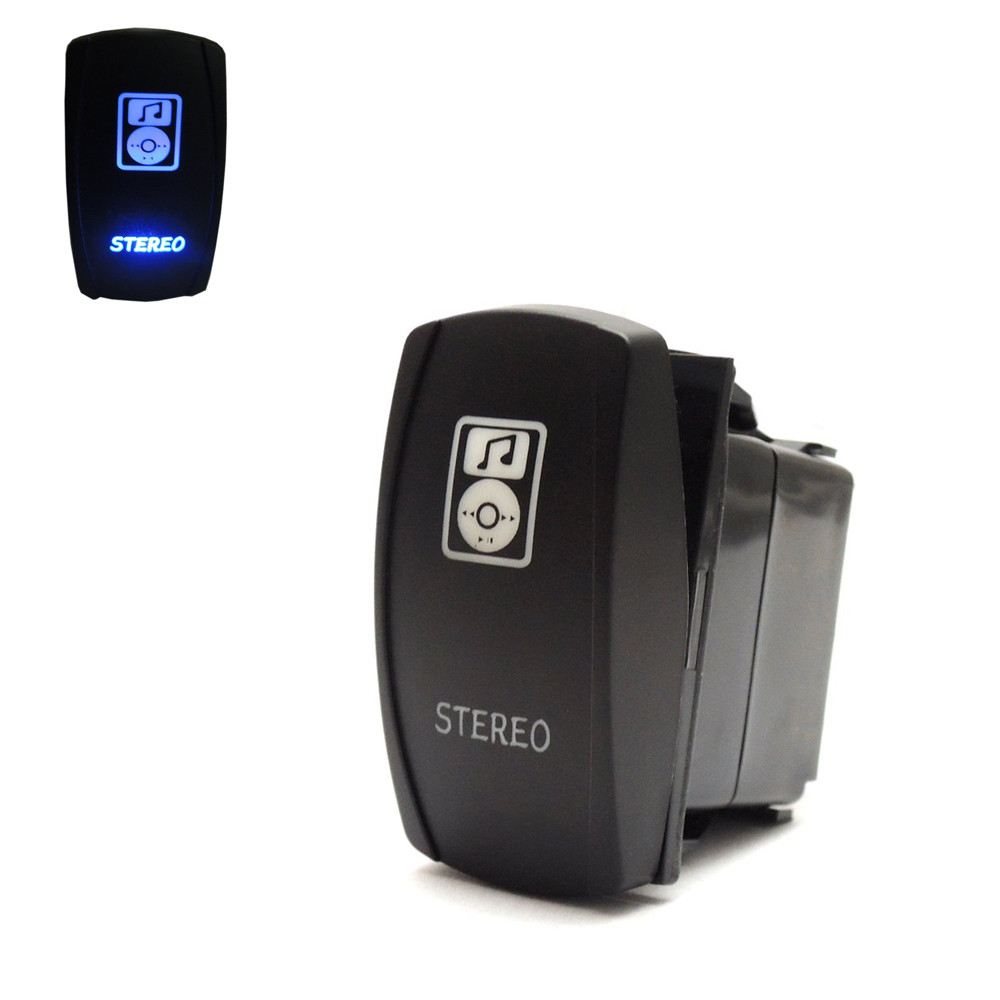 ATV Stereo Rocker Switch ON-OFF Laser Blue LED Light Switch 20A 12V For Polaris Ranger 900 800 RZR RZR4 1000 2015-2016