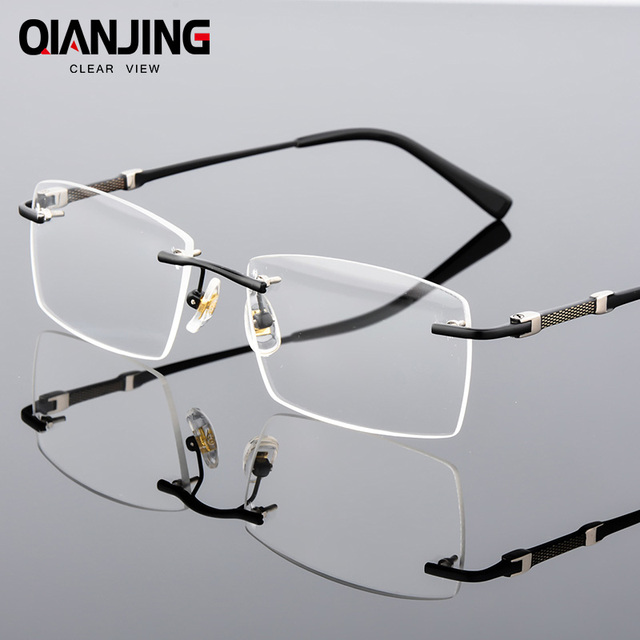 QianJing Rimless Gray Mens Glasses Frame Spectacles for Man ...