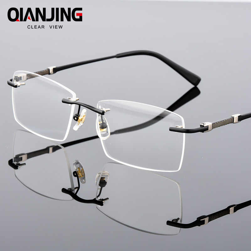 a905ee0503f9 QianJing Rimless Gray Mens Glasses Frame Spectacles for Man Prescription  Optical Lens Frameless Eyeglass can Mount