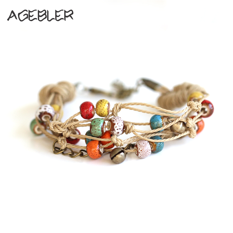 Women Ethnic Style Ceramic Bracelets Bangles Handmad Bohemia Vintage Jewelry Double Layer String Colorful Beads with