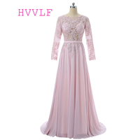 Pink Muslim Evening Dresses 2018 A Line Long Sleeves Chiffon Lace See Through Long Evening Gown