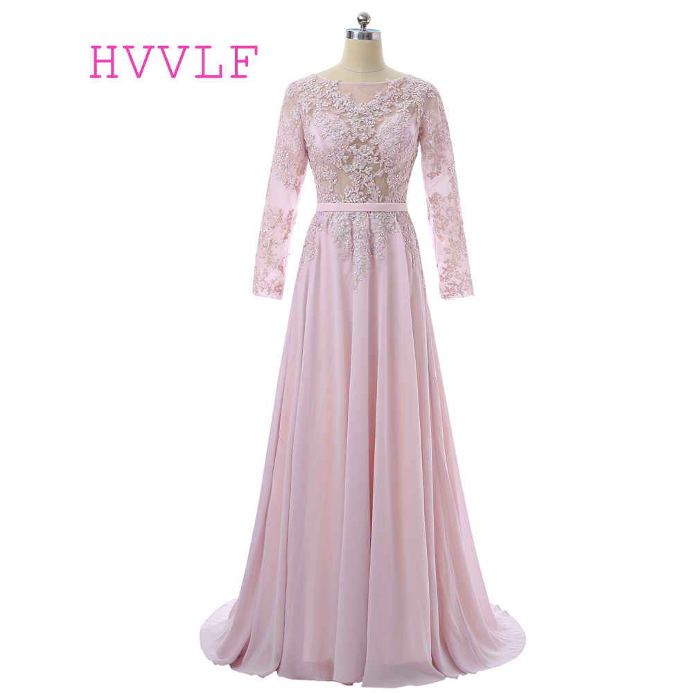 Pink Muslim Evening Dresses 2018 A-line Long Sleeves Chiffon Lace See Through Long Evening Gown Prom Dresses Robe De Soiree