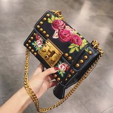 Women Embroidery Flowers Bag Fashion Flap Rivet Shoulder Messenger Bags Women Leather Handbags Fashion Chain Crossbody Bag Louis