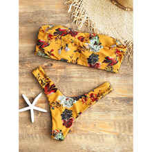 Padded Mustard Floral Bandeau Thong Bikini Set