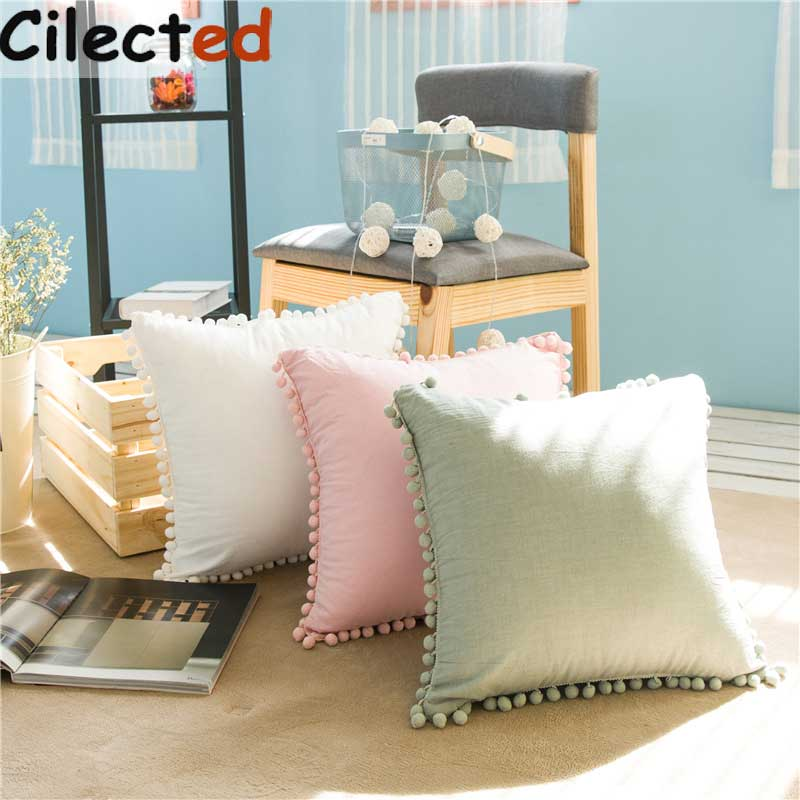 Cilected 45*45cm Solid Pompom Cushion Cover Pillowcase White/Pink/Green 100% Cotton Decorative Bedroom Pillow Case For Sofa 1pc