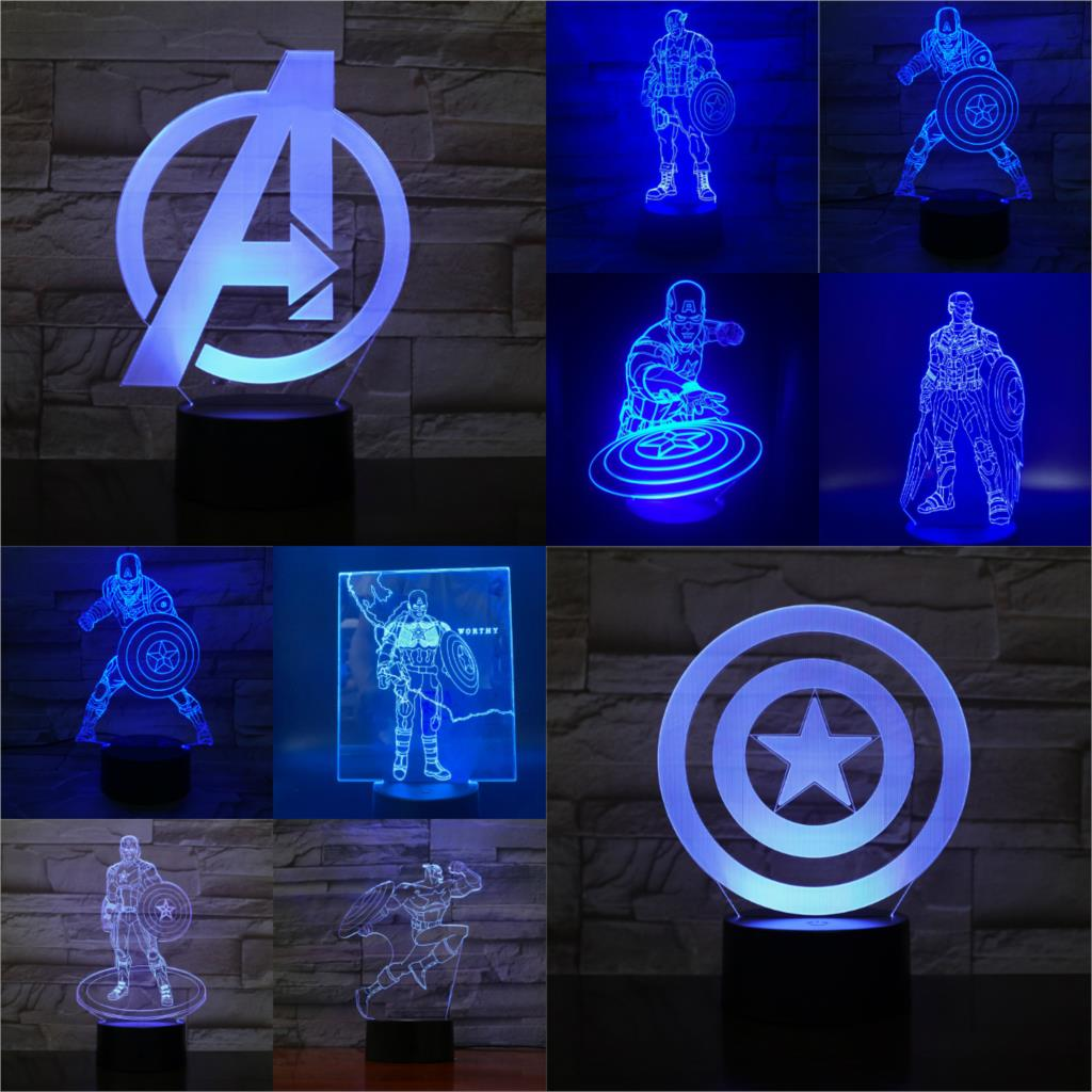 Captain America 3D Lamp Children's Luminaria Night Light  Multicolor LED USB Touch Kid Toy Holidy Gadgets Props