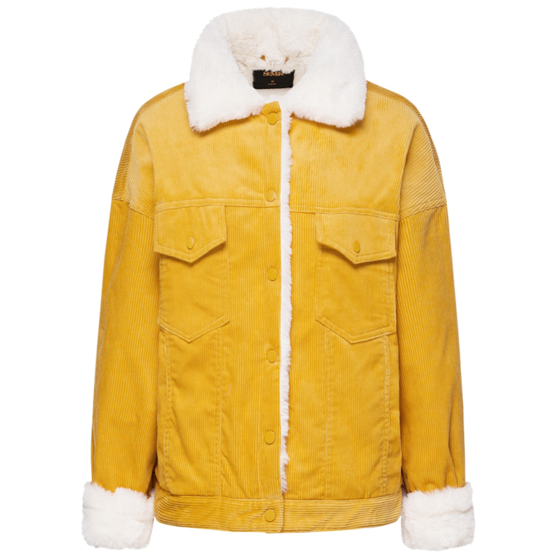 f3f604523 US $27.69 64% OFF|SEMIR Women Pile Lined Corduroy Jacket with Chest Pocket  and Slant Pocket Womens Short Sherpa Lined Corduroy Jacket Cozy Style-in ...