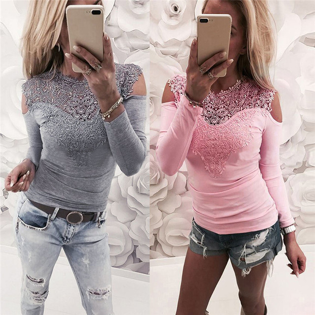 Elegant Office Lady Spring Summer Women Sexy Lace Long Sleeve Hollow Shirts Leotard Tops Casual Solid Flower Blouse Pullovers 5