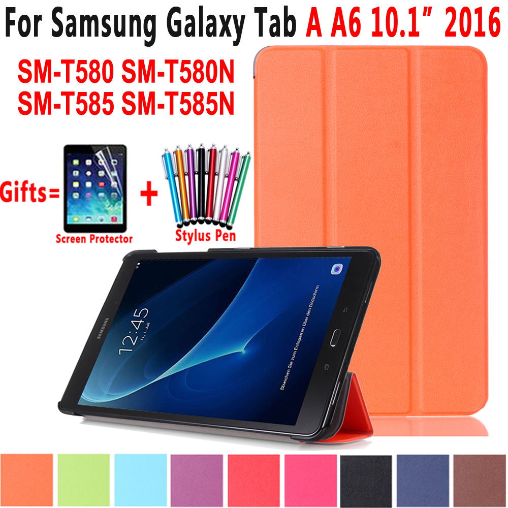 KST Foldable PU Leather Cover Case For Samsung Galaxy Tab A A6 10.1 2016 Case T580 T580N T585N SM-T580 SM-T585 Coque Capa Funda все цены