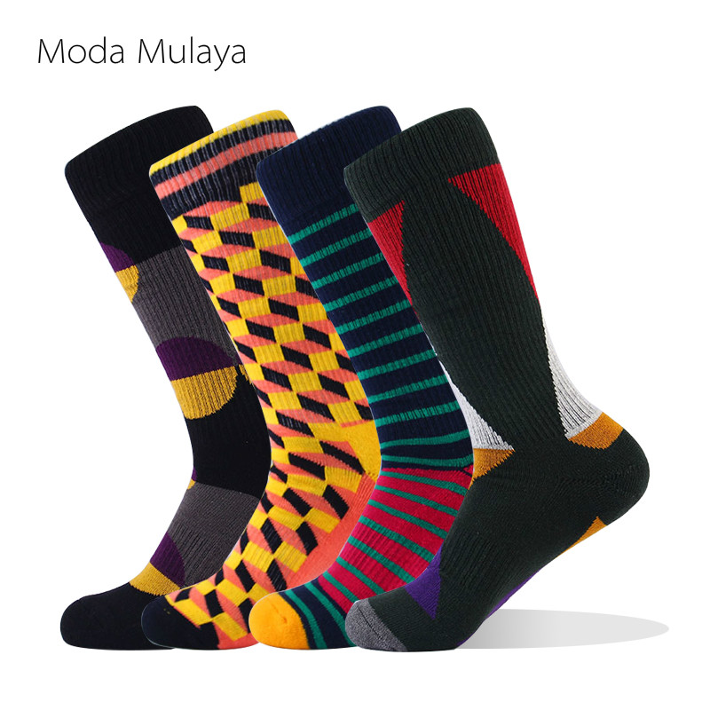 Moda Mulaya 2019 Men's Happy Socks Men Combed Cotton Thermal Thick Long Funny Socks Colorful Unisex Male Winter Socks For Man