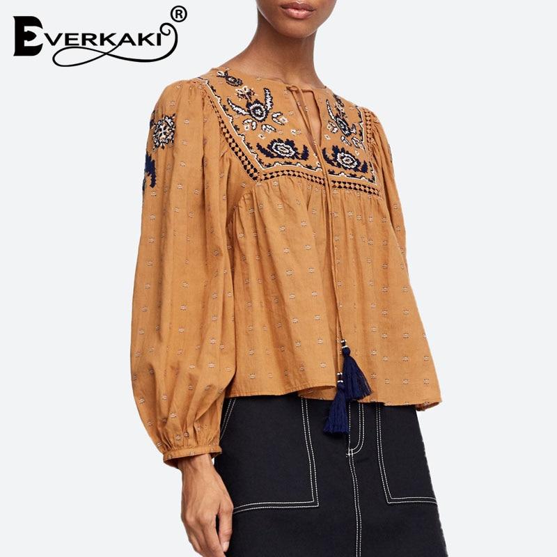 Everkaki Floral Embroidery Boho Women Tassel   Blouse     Shirt   Puff Long Sleeve Button Bohemian Women Tops And   Blouses   2019 Autumn