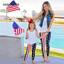 Mother and daughter clothes Stars Striped Pants mother daughter leggings Mom and daughter matching clothes family pajamas