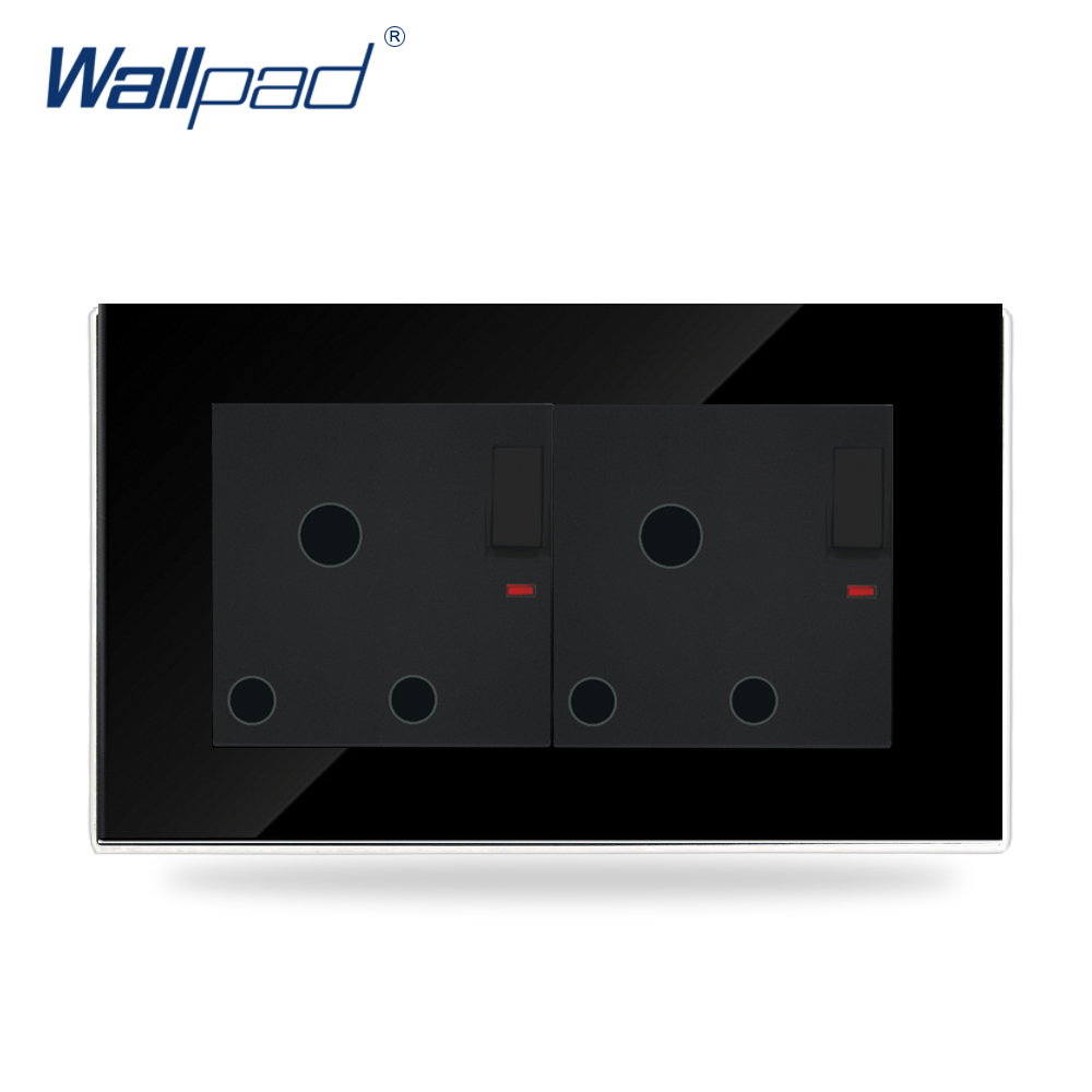 146*86mm UK 15 A Amp LED Switched Socket Wallpad Black Glass 110v-250V Double 15A Soutch Africa Wall Switched Socket with Neon