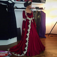 Burgundy Velvet Evening Gown Middle East Women Arabic Kaftan Applique Formal Floor Length Wedding Party Dress