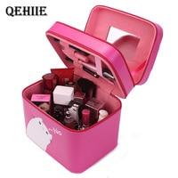 Qehiie ماركة الأزياء pu السيدات المحمولة مستحضرات التجميل المنظم المعروفة مصمم حالة السفر ضروري