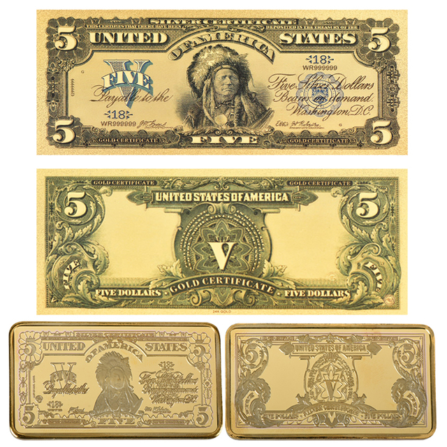 Wr 2pcsset 24k Gold Usa 5 Dollar Banknote Paper Money 1899 Years
