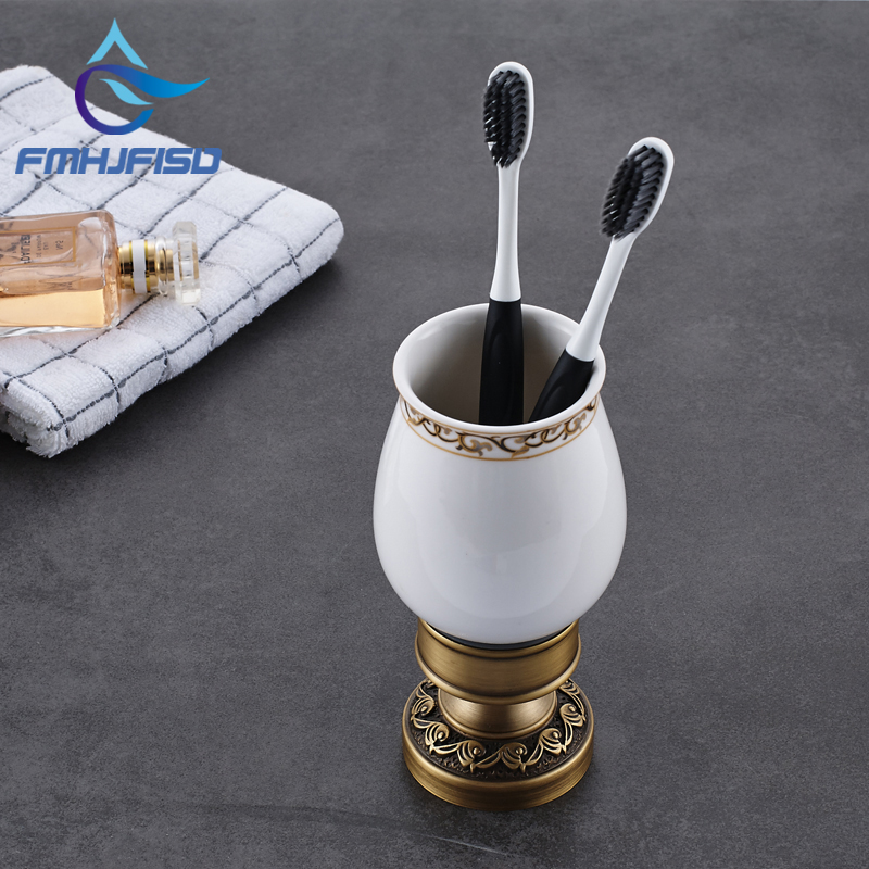 Factory Retail Antique Brass / Oil Rubbed Bronze Toothbrush Holder W/ Single Ceramic Cups black oil rubbed bronze wall mounted toothbrush holder with two ceramic cups wba472
