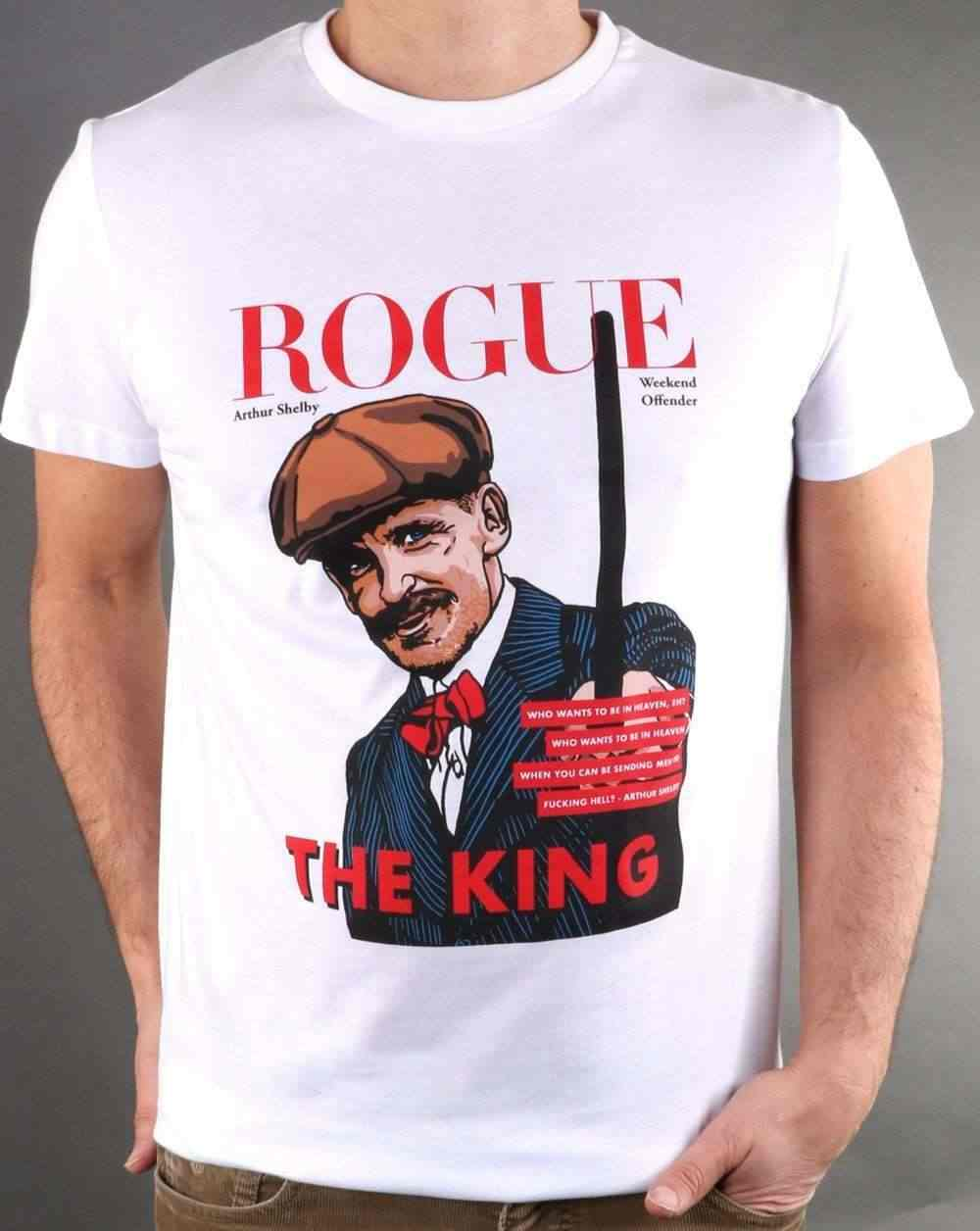Weekend Offender Rogue Arthur T Shirt in White - Peaky Blinders   Cartoon t shirt men Unisex New Fashion tshirt Loose Size