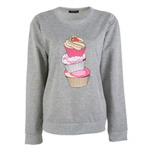 oioninos 2017 Autumn Long Sleeve Sweatshirt Cartton Ice Cream Print Clothes Women Comfortable Tops