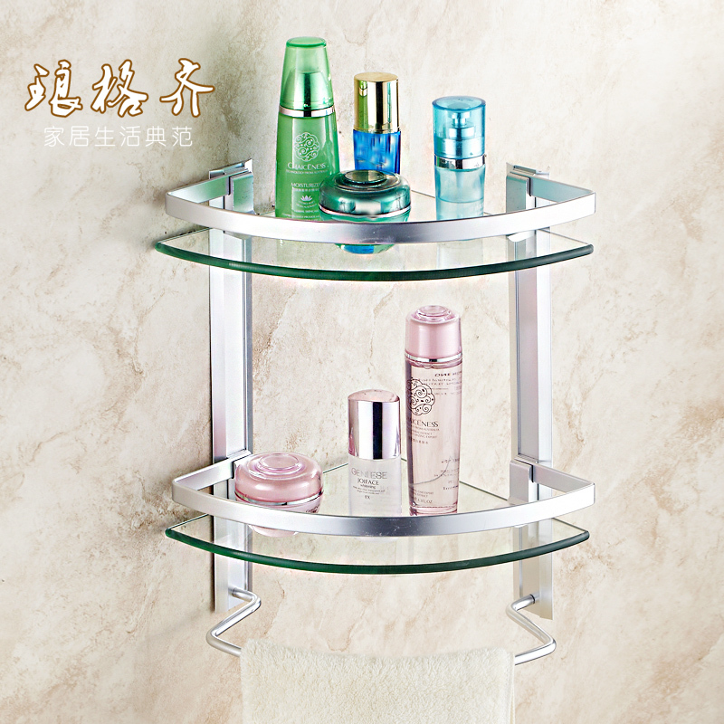 Double Gl Shelf Bathroom Vanity Cosmetic Tripod Stand Jiaojia The Wall Silver In Shelves From Home Improvement On Aliexpress