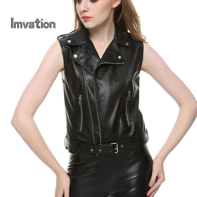 Imvation 2017 Casacos Femininos Mujer de cuero de imitación Chaleco biker Escudo color sólido sashes button zipper pocket chalecos mujer