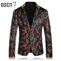OSCN7 Многоцветный Мужские Печатных Пиджак Отдыха Последние 2017 Последние Blazer Дизайн Blazer Masculino Slim Fit Партия Мужчины Костюм Куртка