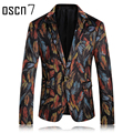 OSCN7 Multicolor Mens Printed Blazer Leisure Latest 2017 Latest Blazer Designs Blazer Masculino Slim Fit Party Men Suit Jacket