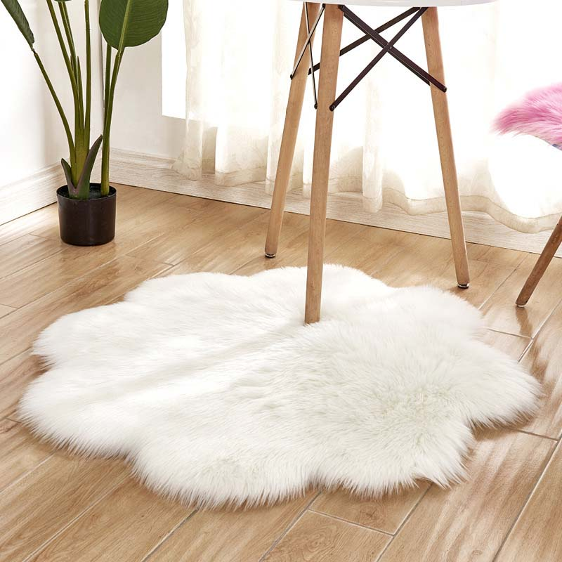 Flower Soft Faux Sheepskin Fur Chair Couch Cover Seat Pad White Area Rug for Bedroom Floor