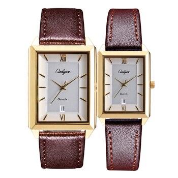 Ultra-thin men's and women's watches fashion Korean style rectangular calendar quartz waterproof with leather watchband