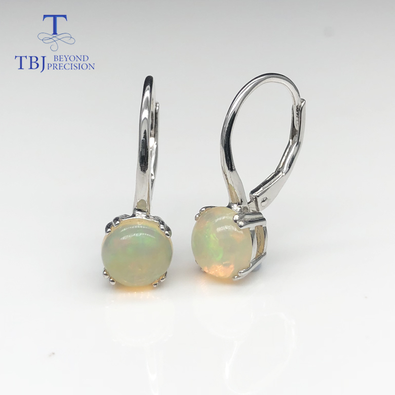 Natural Ethiopian Multi-color Opal Earrings 925 Sterling Silver Earring Simple Style Gemstone Jewelry For Girls With Gift Box