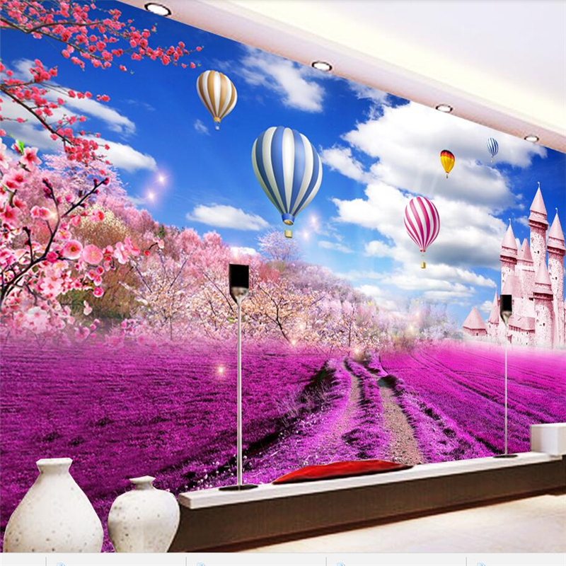 beibehang Papel de parede Custom wallpaper 3D photo mural Lavender garden castle living room bedroom TV background wall paper custom children wallpaper multicolored crayons 3d cartoon mural for living room bedroom hotel backdrop vinyl papel de parede