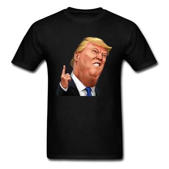 Camiseta con estampado de Trump Comic 2018 del presidente Donald para hombre, ropa negra de verano a la moda, camisetas divertidas de dibujos animados con cuello redondo, tipo gordo