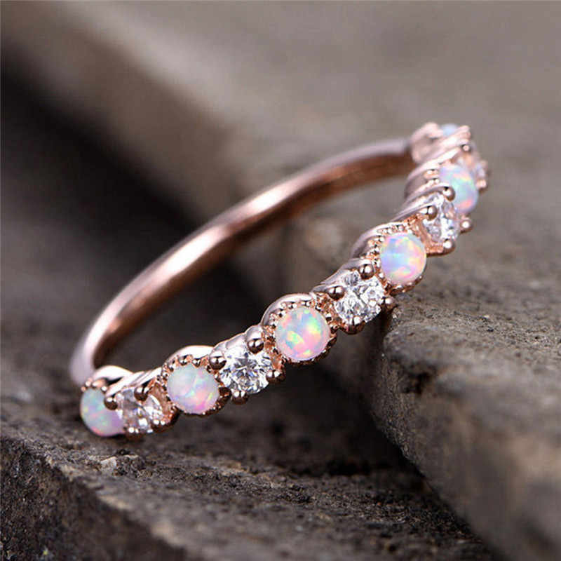Modyle ใหม่โอปอลงานแต่งงานแหวน Rose Gold สี CZ Zircon Vintage โอปอลหมั้นแหวนเครื่องประดับ Dropshipping