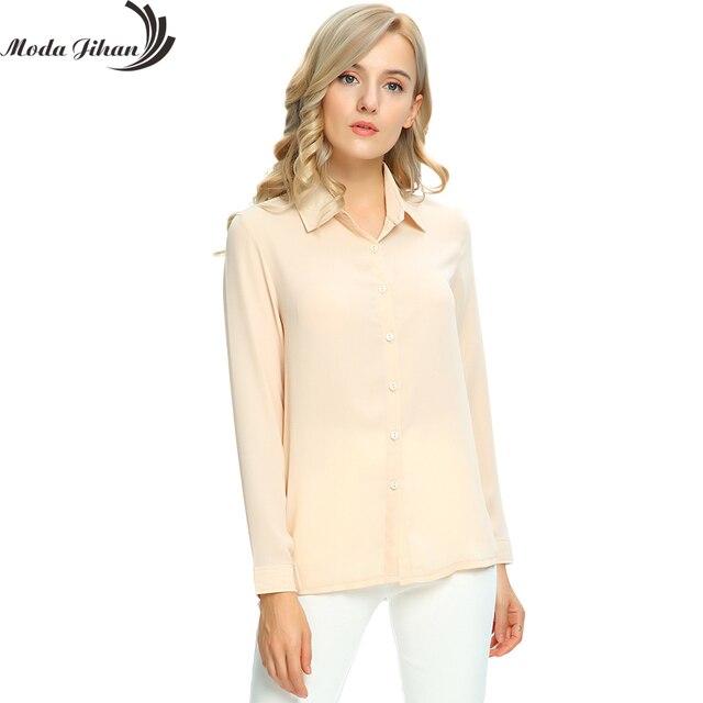 f14722adf49 Moda Jihan Women s Chiffon Long Sleeve Button Down Casual Shirt Blouse Top  Women Blouse For Office Wear Female Clothes Plus Size