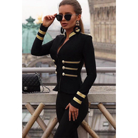 2019 Spring New Long Sleeve Short Paragraph Coat Gold Wire Decorative Buckle Trend Fashion Style Wild Ladies Bandage Coat