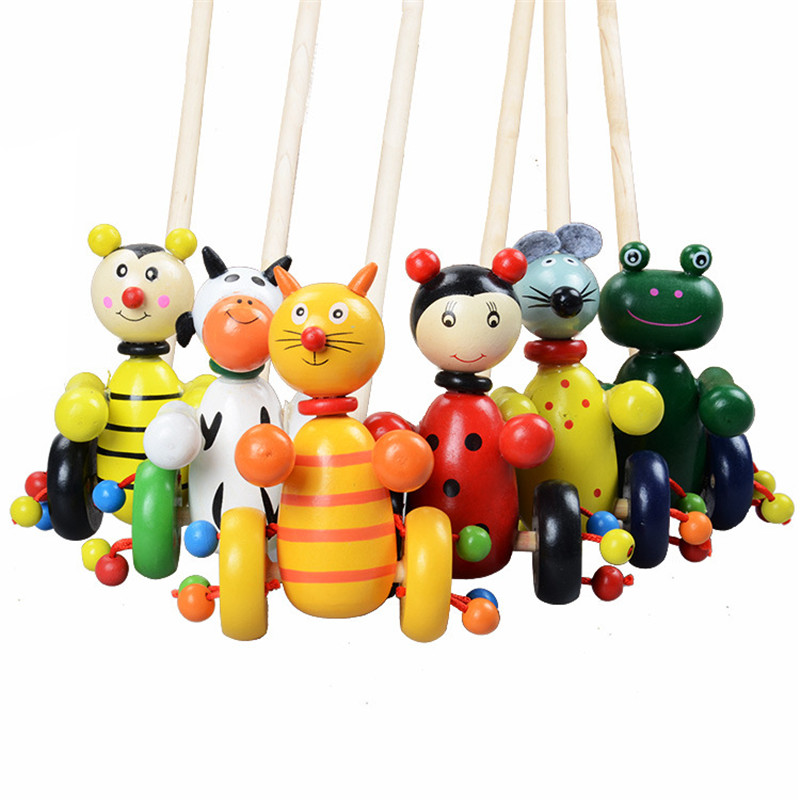 Baby Wooden Toys for Children Cute Colorful Puzzles Cartoon Animals Wooden Trolley Wood Toys For Kids Gift Random Color