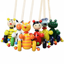 Baby Wooden Toys for Children Cute Colorful Puzzles Cartoon Animals Trolley  Wood For Kids Gift Random Color