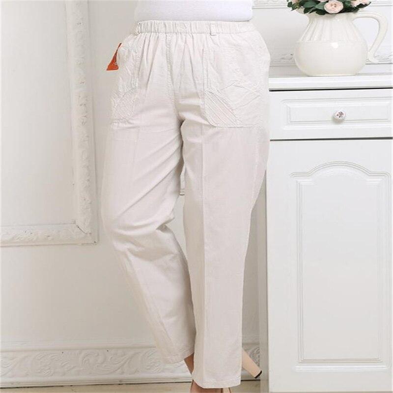 Mince Pants longueur Femelle Respirant Pants Plus Surdimensionné Taille Haute Femmes Femme D'été khaki Pants Dame Capris green Printemps La Pants Cheville white Dot Beige Lin Pantalon Pqn01zw