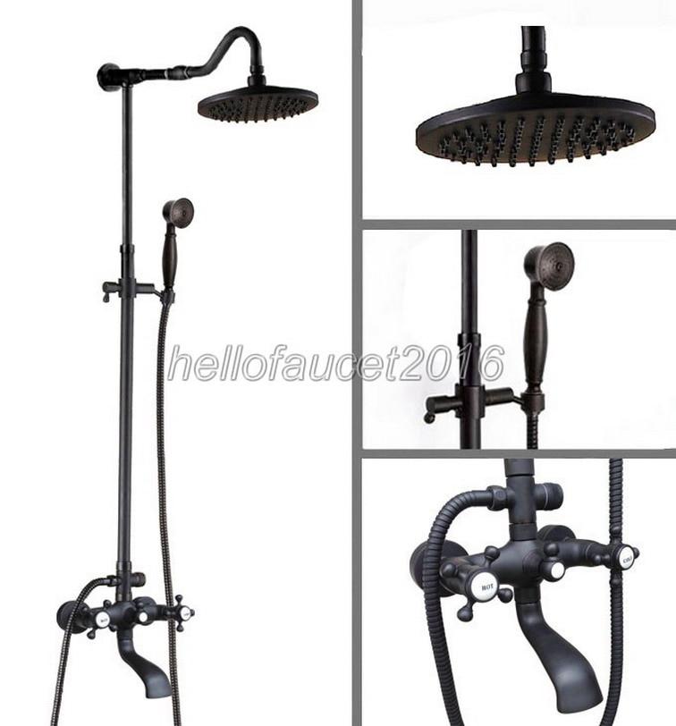 Luxury Black Oil Rubbed Bronze Finish 8 inch Shower Heads Bathroom Wall Mounted Rain Shower Mixer Faucet Set Bathtub Taps lhg605