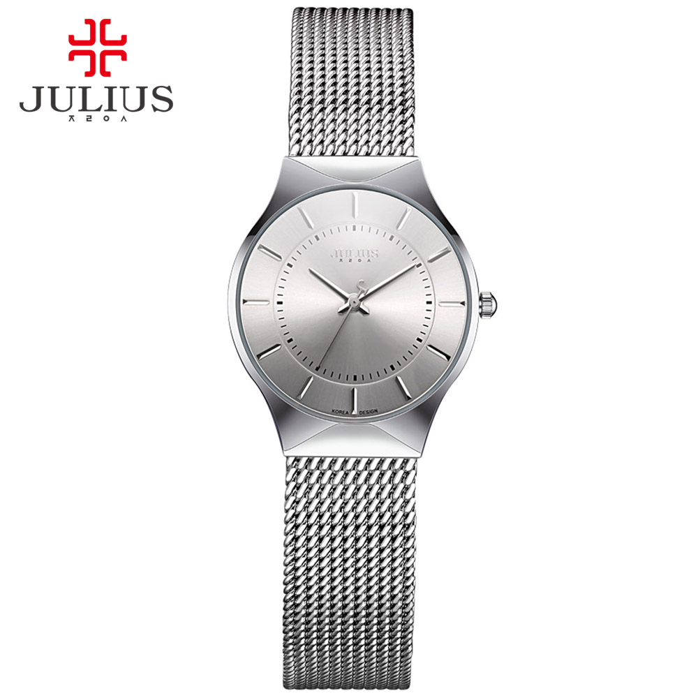 JULIUS JA-577 Women Ultra thin Silver Black Men Mesh Stainless Steel Quartz Analog Fashion Casual Watch Female Wristwatch Clock opi nail lacquer gwen stefani holiday just beclaus цвет just beclaus