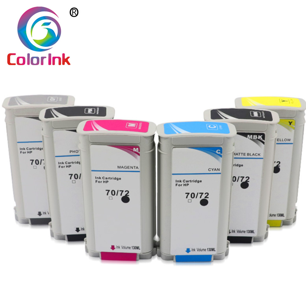 ColoInk 6pack colori per HP 72 cartuccia di inchiostro 130ml Per HP T610 T620 T770 T790 T1100 T1120 T1200 t1300 Stampante