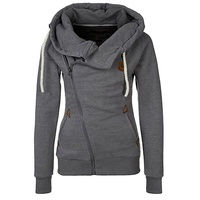 New Woman Solid Color Personality Side Zipper Hooded Fleece Jacket 7 Colors With String Decoration