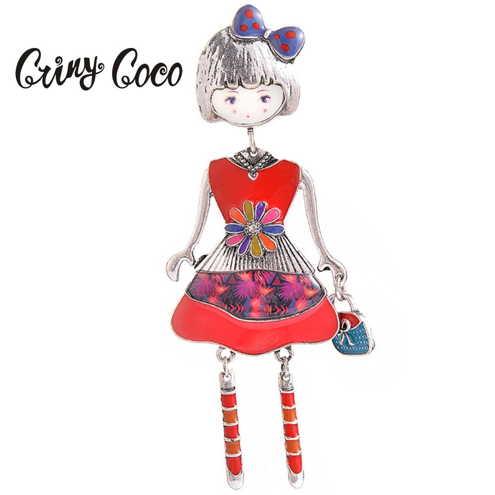 Cring Coco Korea Personalized Brooch Pin Accessories Cute Doll Red Enamel Alloy Metal Womens Children Brooches Wedding for Girl