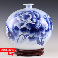 Jingdezhen ceramic master Wu Wenhan hand painted blue and white vases, pomegranates bloom, rich collection certificate