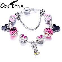 Silver Snake Chain Charm Bracelet For Women Kids Lovely Mickey Minnie Clear Pink Crystal Beads Brand Bracelet Bangle