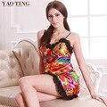 Sexy women Nightgown Satin Women's Lingerie printed V neck patchwork Sleepwear homewear dress